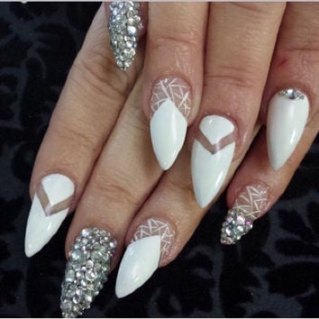 Hand painted white negative space false nails with diamonds * fake nails * press on nails * nails