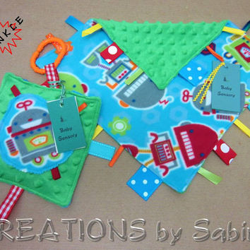 Baby Gift Set: Tag Blanket & Ribbon Toy / Sensory Toy / Robot Robots / Blue Green Turquoise Red / Futuristic SciFi / READY TO SHIP (193)