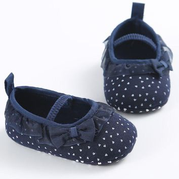 First Walker Newborn White Bowknot Dot Baby Girl Lace Shoes Baby Shoes Toddler Prewalker Anti-Slip Shoe
