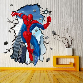 Spider-Man 3D Wall Stickers for Kids Room Removable Decoration DIY PVC Sticker Wallpaper Decals Bathroom Decoration [9325387908]