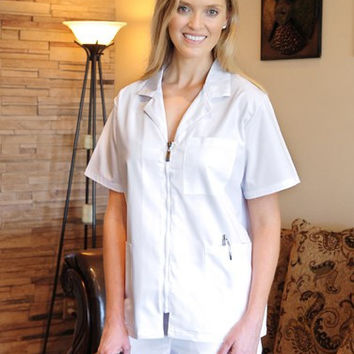 Women's White Zipper Top Uniform Scrubs