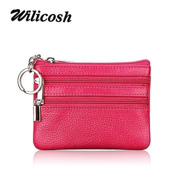 Wilicosh Women Genuine Leather Coin Bags Wallets Double Zipper Coin Purse Card Key Holder Short Wallet Female Purse Pouch XKQ022