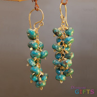 "Clusters of turquoise linked together, 2"" Earring Gold Or Silver"