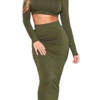 Two Piece Solid Green Bodycon Skirt Midi Length High Waist