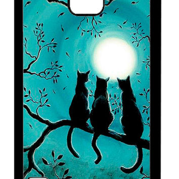 Three Black Cat In The Night Moon Samsung Galaxy S5 Cases - Hard Plastic, Rubber Case