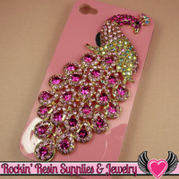 XL PINK PEACOCK Crystal Covered Gold Alloy Bird Decoden Cabochon Cellphone Decoration