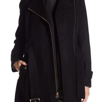 MICHAEL Michael Kors | Asymmetrical Front Zip Waist Belt Wool Blend Coat