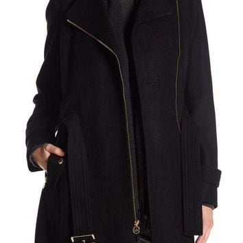 ICIKHB3 MICHAEL Michael Kors | Asymmetrical Front Zip Waist Belt Wool Blend Coat