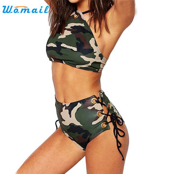 Premium 2017 New Halter Camouflage Woman Girls Bikini Sets Women Swimsuits Summer Sexy Binikis Gifts Swimming Bathing Beachwear
