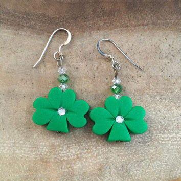 Shamrock Earrings.Green.Polymer Clay Earrings.St Patricks Day Earrings.Good Luck Earrings.Graduation Gift Clover Earrings. St Paddy Earrings