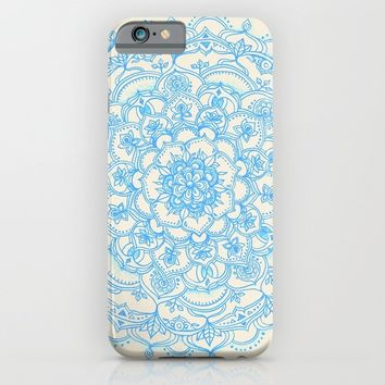 Pale Blue Pencil Pattern - hand drawn lace mandala iPhone & iPod Case by Micklyn