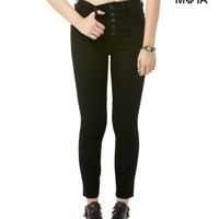 High-Waisted Black Wash Cropped Jegging