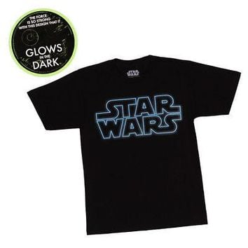 Star Wars Classic Logo Glow In The Dark Licensed Kid's Youth T-Shirt - Black