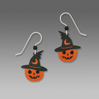 Sienna Sky Earrings - Halloween Pumpkin with Witch Hat and Rhinestone Eyes