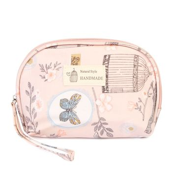 Butterfly & Birds Floral Pink Petite Cosmetic Bag