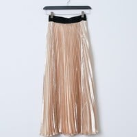 Golden Rhapsody Pleats Midi Skirt - Gold