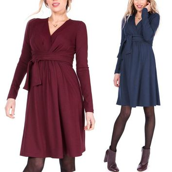 Nursing Dress Long Sleeve Autumn Maternity Dresses Casual 2018 Elegant Nursing Dresses Breastfeeding Tunic for Pregnant Sashes