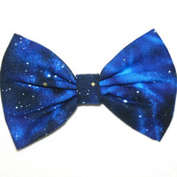 Galaxy Outer Space Blue Color Colored Light Dark Stars Silver Gold Planet Hair Bow Bows Accessories Accessory Made For Girls Teens Women