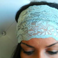 Mint Lace Stretch Headband