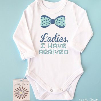 Cute Baby Boy Bodysuit. Funny Baby Clothes with Bow Tie Print. Trendy Baby Outfits. Long Sleeve Bodysuit. Funny Baby Gift.