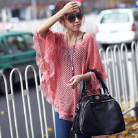 Summer new openwork lace shawl cape sweater blouse big yards gauze sun protection clothing thin sweater coat dress XD0193