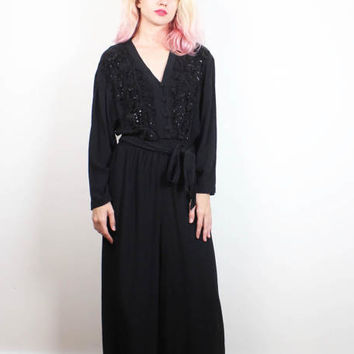 Vintage 1990s Jumpsuit Black Wide Leg Pants Long Sleeve Embroidered Top Soft Grunge 90s Wide Legged Palazzo Pants Jumpsuit M Medium L Large