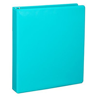 Samsill Durable Fashion Color 3 Ring Binder, 1 Inch Round Rings, Customizable Clear View Binder, 2 Pack  - Turquoise
