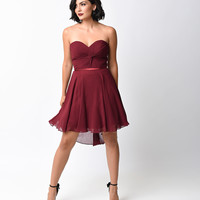 Burgundy Chiffon Strapless Sweetheart Corset Short Dress