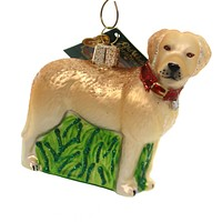 Old World Christmas Standing Yellow Lab Glass Ornament