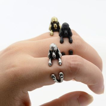 Vintage 3D French Poodle Puppy Animal Wrap Ring for Men or Women Jewelry Chic Dog adjustable Rings