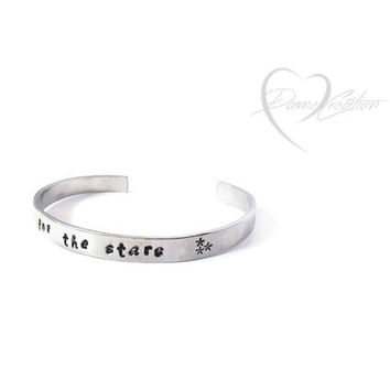Reach for the Stars - Star Cuff - Bracelet with Words - Encouraging Words - Handstamped Cuff - Skinny Bracelet - Three Stars -