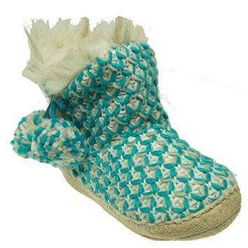 Jenni Women's Knit Bootie Slippers Aqua Size X-Large 11-12 M US