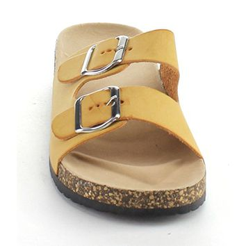 Glory-2 Womens Fashion Buckled Two Strap Slide Sandals
