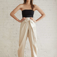 UO High-Rise Wrap Front Striped Pant | Urban Outfitters