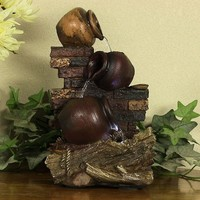 Rustic Brick Wall and Jugs Tabletop Fountain w/ LED Light