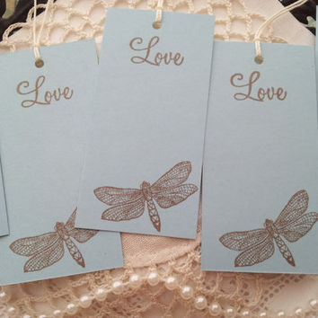 Mini Wedding Wish Tree Tags Dragonflies Love Set of 30