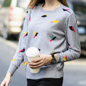 Gray Birds Pattern Long Sleeve Sweater