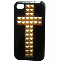 SODIAL(TM) Punk Cross Style Mobile Phone Protective Case for iPhone 5 Mobile Cover with Studs and Spikes Black Gold