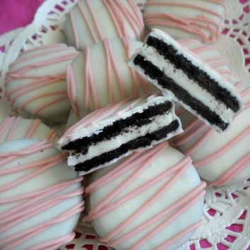 Pink Chocolate Covered Oreos Cookies Pink Baby Shower Favors Birthday Party Favors It's A Girl Baptism Christening