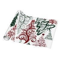 Red Green Holiday Christmas Tree Pattern