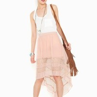 Laced Tail Skirt - Blush in Clothes at Nasty Gal