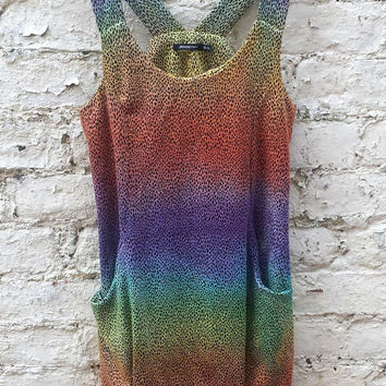 Leopard Print Rainbow Ombre Dip Dye Ladies Long Vest Top with Pockets size 10