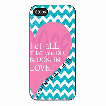 Pink Heart Chevron Bible 1 Corinthians for Iphone 5 Case *NP*