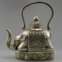 Collectible Decorate Old Handwork Tibet Silver Carve Flower Elephant Big Tea Pot from Chenjiayun,$52.36 | DHgate.com