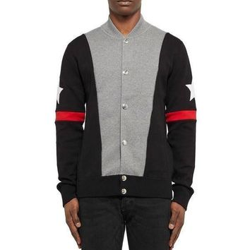 Givenchy black red star men's baseball jacket sweater