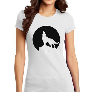 Wolf Howling at the Moon - Design #1 Juniors T-Shirt by TooLoud