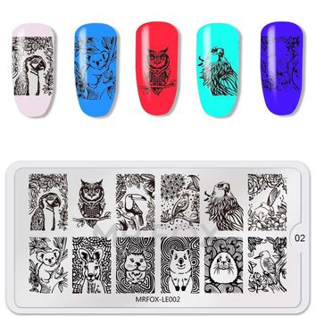 Nail Stamping Template Animal Series Unicorn Flamingo Cat Owl Tiger Manicure DIY Image Plate Nail Art Decoration Accessory