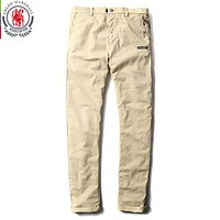 New Fashion Solid Color Patchwork Washed Casual Pants Men Straight Cotton Pants Man Long Trousers