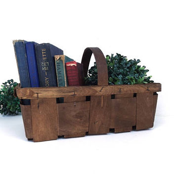 vintage wood basket fruit vegetable tomato wooded woven crate container storage rustic primitive country market farm farmhouse cottage home
