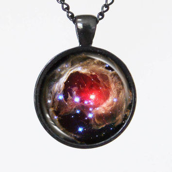 Galaxy Photo Necklace - Variable Star V838 Monocerotis Black - Galaxy Series